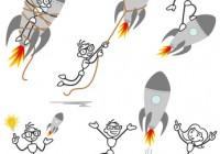 Stickman rocket fired startup teamwork