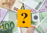 Question mark on euro banknotes