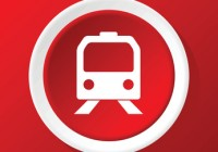 Round white icon with image of train face, on red background