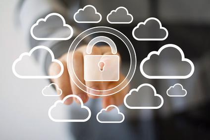 Businessman push web button cloud lock icon